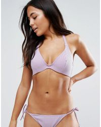 ASOS | Purple Fuller Bust Mix And Match Hidden Underwire Bikini Top In Rib Dd-g | Lyst