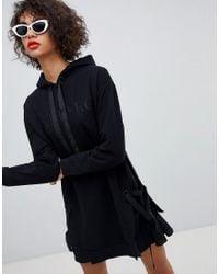 Iceberg - Black Tonal Logo Grosgrain Drawcord Hoody Dress - Lyst