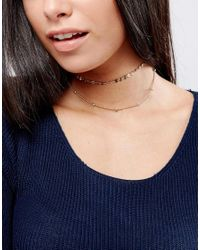ASOS | Metallic Fine Disc Multirow Choker Necklace | Lyst