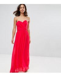 8362db3dbb96 ASOS Wedding Chiffon Bandeau Maxi Dress in Pink - Lyst
