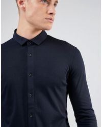 Armani Jeans - Blue Slim Fit Mercerised Jersey Shirt Navy for Men - Lyst
