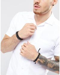 Icon Brand - Black Beaded Bracelets In 3 Pack for Men - Lyst