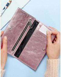 ASOS - Pink Slim Metallic Leather Foldover Purse - Lyst