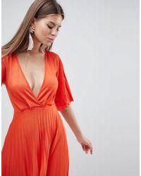 ASOS - Orange Design Pleated Kimono Sleeve Midi Dress - Lyst
