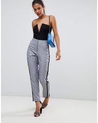 Missguided - Gray Sports Stripe Cigarette Pants - Lyst