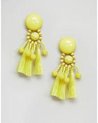 ASOS DESIGN - Yellow Asos Bead & Pom Tassel Earrings - Lyst