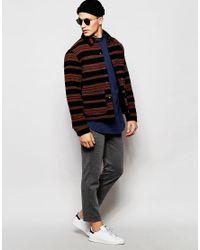 ADPT - Blue Half Placket Longline Grandad Shirt In Regular Fit for Men - Lyst