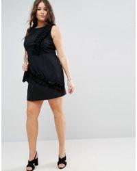 ASOS - Black Mini Dress With Frill Detail - Lyst