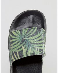 Slydes - Black Slider Flip Flops In Palm Print for Men - Lyst