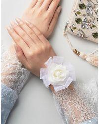 ASOS - White Faux Pearl Flower Corsage Bracelet - Lyst