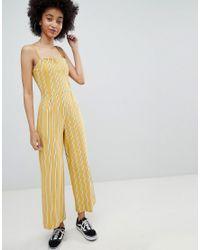 886834464e7 Lyst - Bershka Stripe Wide Leg Jumpsuit In Yellow in Yellow