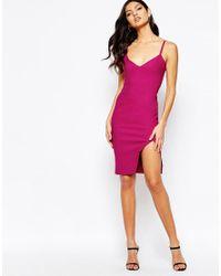 Vesper - Pink Cami Strap Midi Dress With Side Split - Lyst
