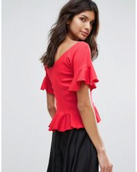 Mango - Pink Frill Detail Ruched Front Top - Lyst