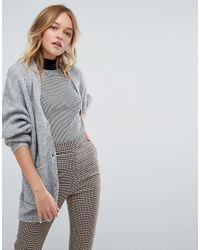 Monki | Gray Longline Knitted Cardigan | Lyst
