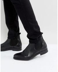 SELECTED | Oliver Leather Chelsea Boots In Black for Men | Lyst