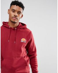 Ellesse Red Hoodie With Small Logo In Burgundy for men