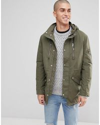 f345eda09b Only & Sons Light Weight Parka With Multi Pockets in Green for Men ...