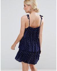 ASOS - Blue Tier Spot Pleated Mini Dress - Lyst