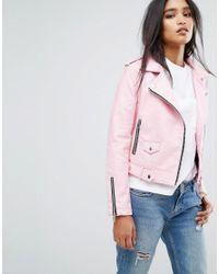 Mango | Pink Faux Leather Biker Jacket | Lyst