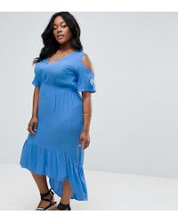 Diya - Blue Cold Shoulder Maxi Dress With Sleeve Embroidery - Lyst