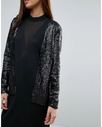 Storm and Marie - Black Storm & Marie Glam Sequin Collarless Blazer - Lyst