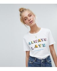 Adolescent Clothing White T-shirt With Always Late Print