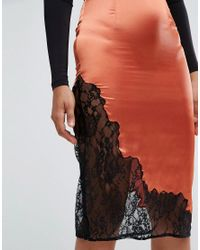 ASOS - Orange Boudoir Slip Skirt With Lace Insert Hem - Lyst