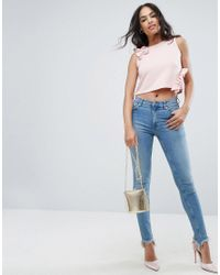 ASOS - Pink Ponte Top With Ruffles Co-ord - Lyst