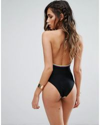 River Island - Black Crochet Insert Stiched Edge Swimsuit - Lyst