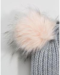 ASOS Gray Rib With Pink Faux Fur Poms