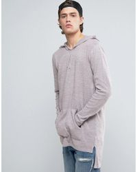 ASOS - Gray Knitted Longline Hoodie In Pink And Grey Twist for Men - Lyst