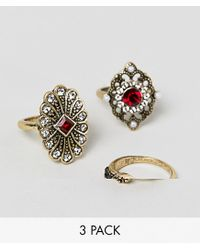 ASOS - Metallic Pack Of 3 Ring In Vintage Style With Jewels And Pearls In Gold - Lyst