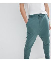 ASOS - Tall Drop Crotch Joggers In Washed Green for Men - Lyst