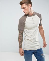 fcdf082d ASOS Longline Muscle Fit Polo Shirt With Contrast Raglan In Beige in ...