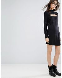 NYTT - Black High Neck Mini Dress With Slash Front - Lyst