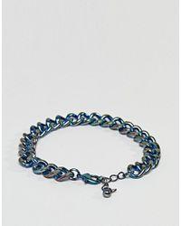 ASOS - Blue Chunky Chain Bracelet In Iridescent Finish for Men - Lyst