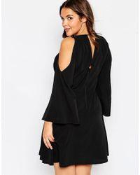 ASOS - Black Curve Cold Shoulder Babydoll Dress With Tassles - Lyst