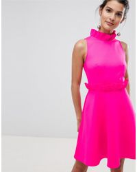 bf48ce4c66 Ted Baker Ruffle Waist Skater Dress in Pink - Lyst