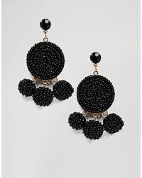 ASOS - Black Limited Edition Seedbead Pom Pom Earrings - Lyst