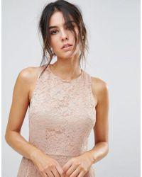 Warehouse - Natural Foil Lace Dress - Lyst