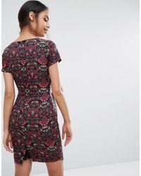 Sugarhill - Red Print Pencil Dress - Lyst
