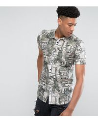 ASOS - White Tall Regular Fit Vintage Print Shirt for Men - Lyst