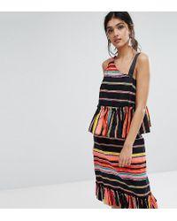 ASOS - Multicolor Cotton Asymmetric Strap Pephem Top In Stripe Co-ord - Lyst