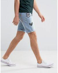 Blend - Blue Denim Badge Short for Men - Lyst