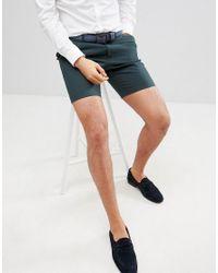 ASOS - Slim Mid Length Smart Shorts In Forest Green for Men - Lyst