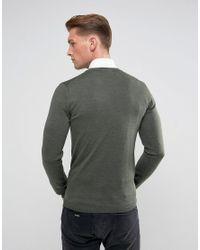 ASOS - Green Muscle Fit Merino Wool Sweater In Khaki for Men - Lyst