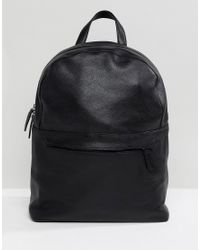 ASOS - Leather Backpack In Black With Front Zip for Men - Lyst