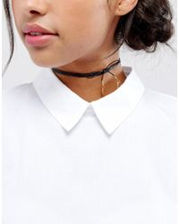 Vanessa Mooney - Black Leather Bolo Choker Necklace With Gold Plated Charms - Lyst