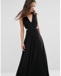 ASOS - Black Side Cut Out Maxi Dress - Lyst