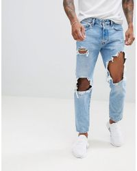 91a510bc DIESEL Mharky 90s Slim Fit Distressed Jeans In 0076m Light Wash in ...